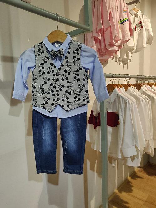 Disney Mickey 4 Pc Waist Coat Denim Set