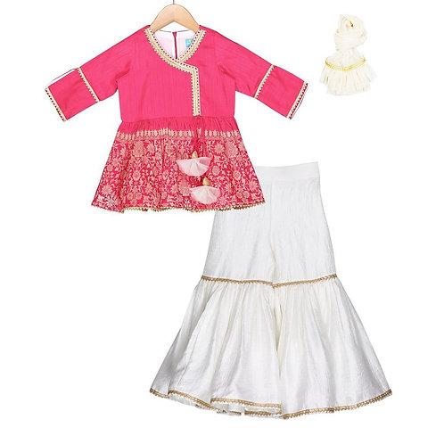 RS-Hot Pink Sharara Set