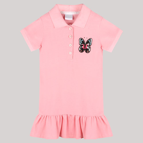 Girls Polo Dress With Ruffles At Hem And Pink Butterfly Motif