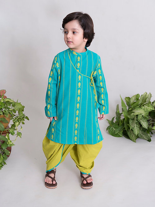 Boys turquoise fish Dhoti Kurta Set