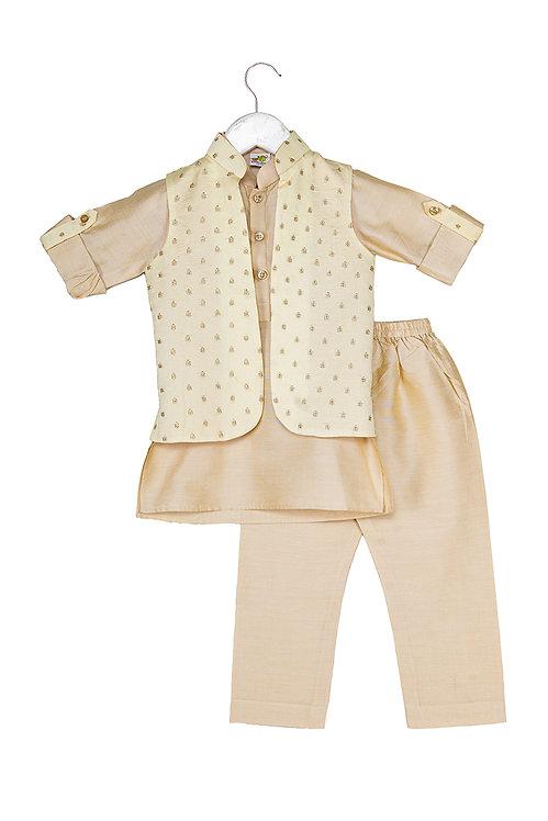 Embroidered Jacket and Kurta pyjama set Gb Cream