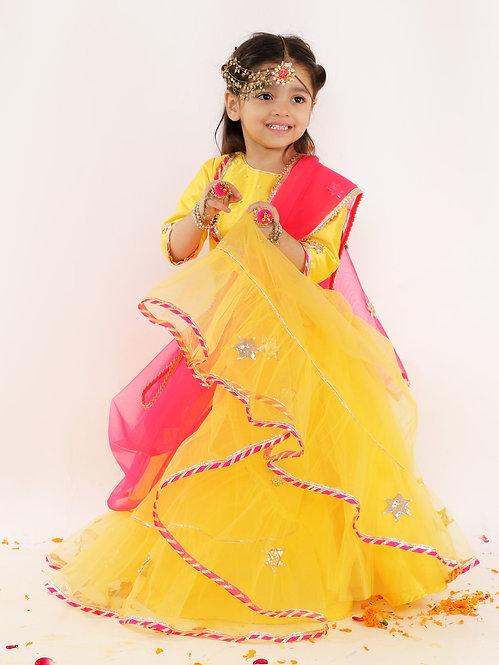 Yellow Net Lehenga Set With Pink Dupatta