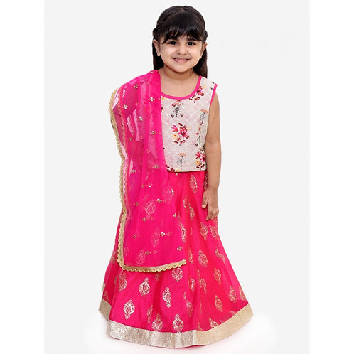 Stylish Girls Ghaghra Choli Set-Fuschia