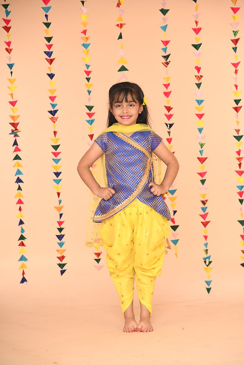 Blue and Lemon Yellow Kurta