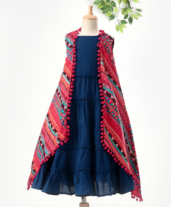 Stylish Girls Tiered Dress With Printed Cape-Royal Blue