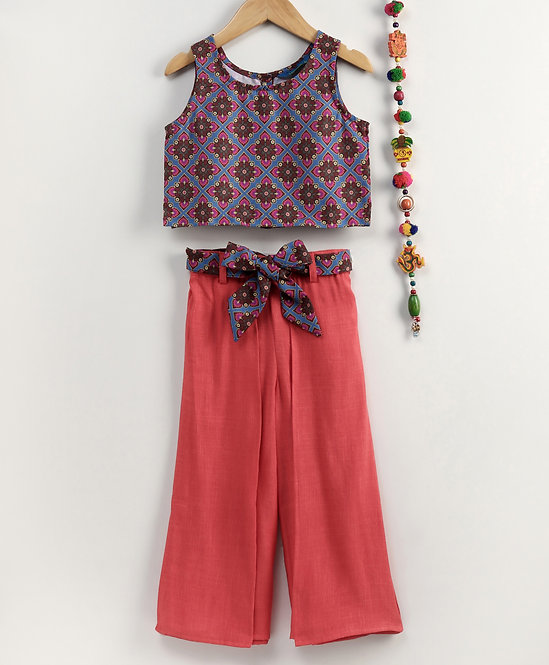 Printed Top with Pom Pom & Wrap Styled Palazzos -Coral