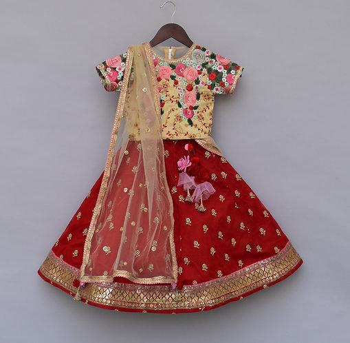 Beige Embroidery Choli with Beige Dupatta & Red Embroidery Lehenga