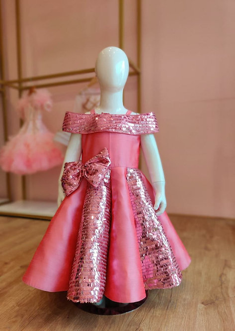 Pink Sequins Structure Gown