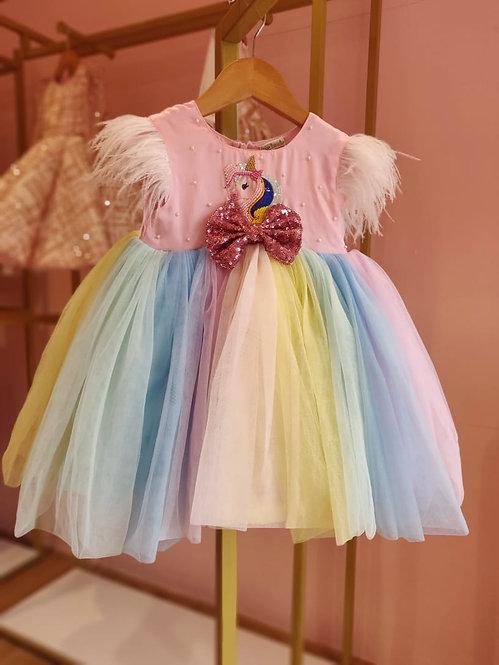 Multicolor Unicorn Embroidery  Dress1