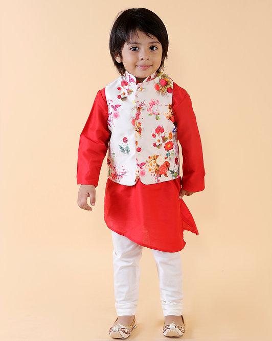 RS-Floral Print Nehru Jacket With Red Kurta Set