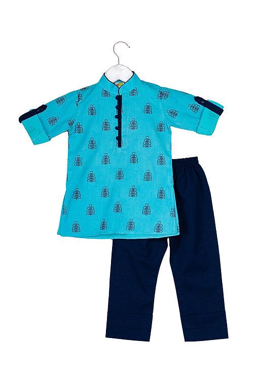 Booti Aqua Embroidered kurta and pyjama set