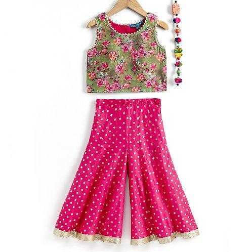 Girls Chanderi Print Top With Printed Palazzo-Pink