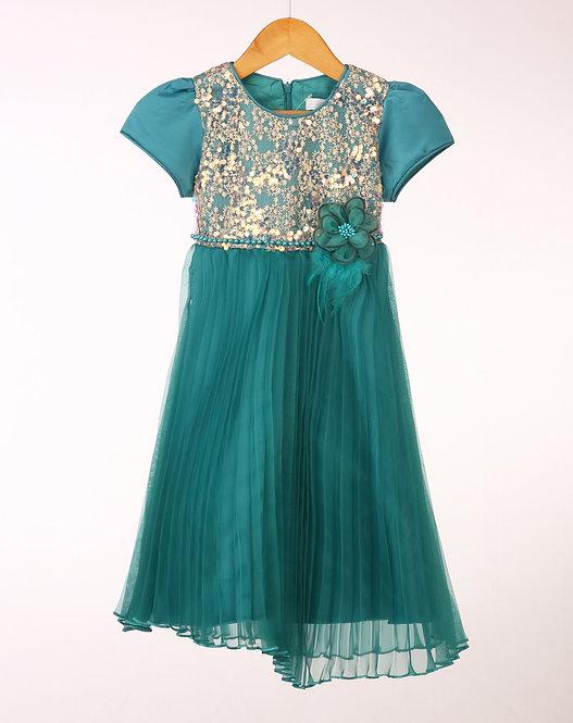 Colette Teal Pleated Dress