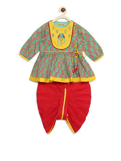 Girls Green-Red Parrot Angrakha Set