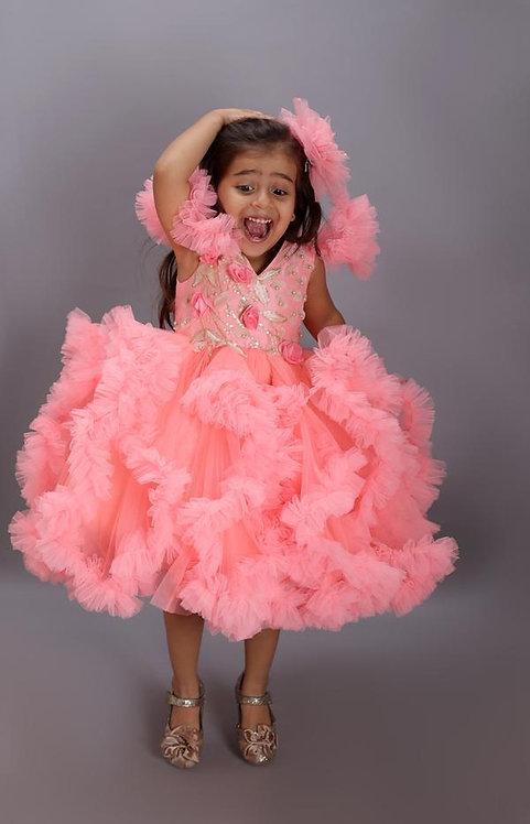 Neon Peach Ruffles Dress