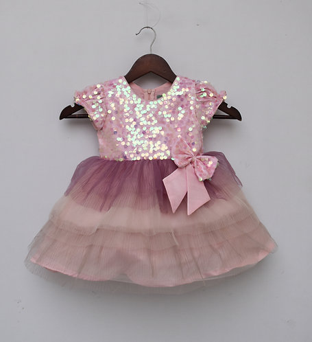 Baby Pink Sequin Yoke with Pleating Net Frilli Frock