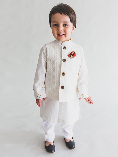 Boy White Jacquard Bundi 3 Pc Kurta Set
