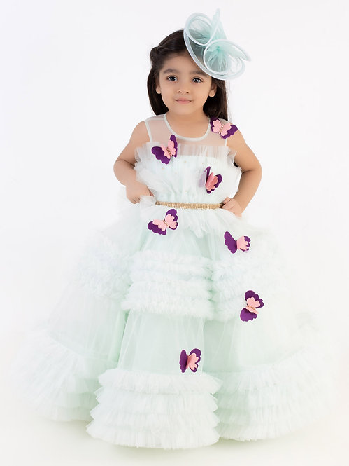 Aqua Green  Butterfly Gown With Hair Accesesory