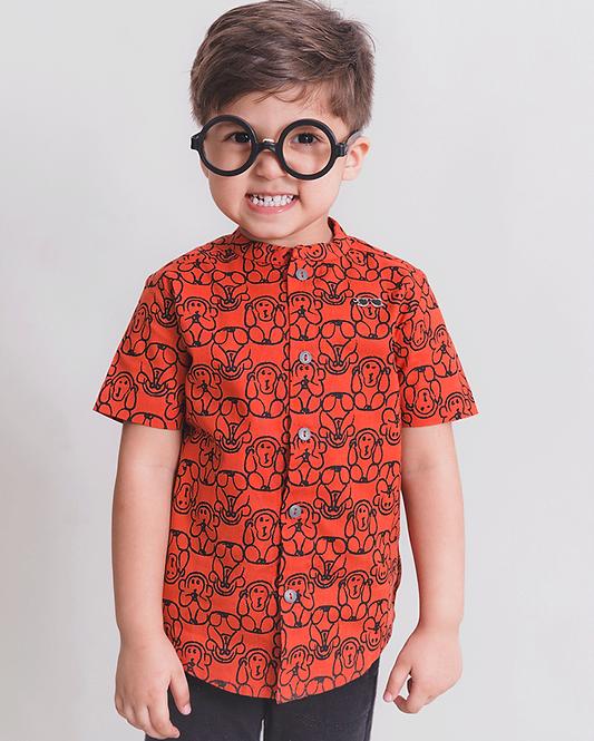 Boy Orange Monkey Shirt