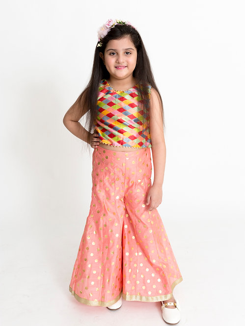 Stylish Girls Chanderi  Top With Gold Lace & Polka Print Palazzos Se