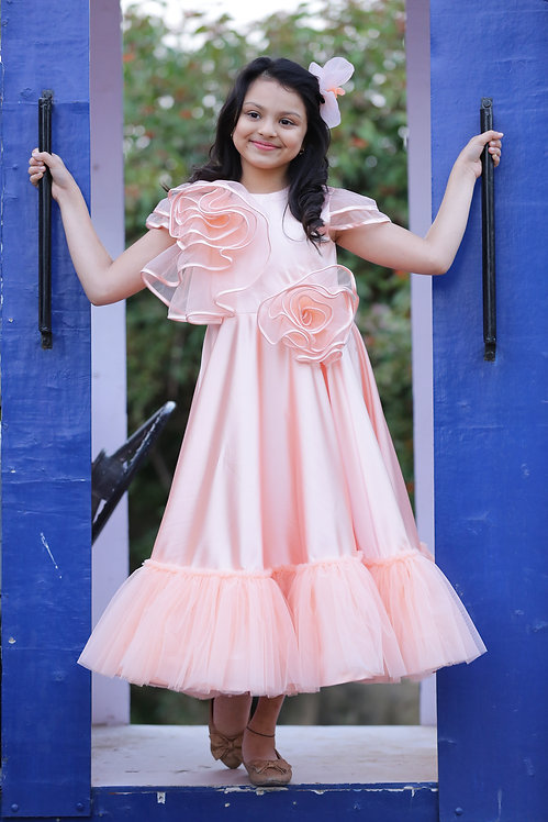 Satin Dress With Ruffles