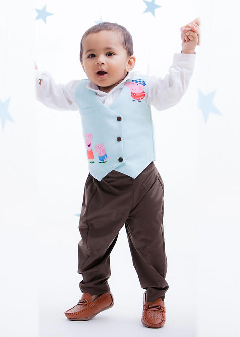 White Shirt with Brown Pant & Peppa Pig Print Waist Coat