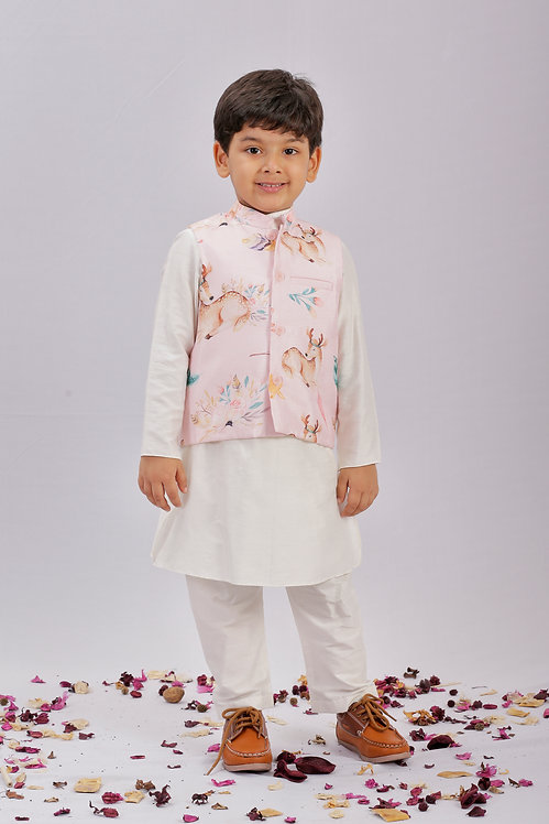 Deer Print Bandi and Kurta Set
