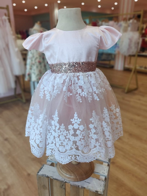 Peach with White  Lace