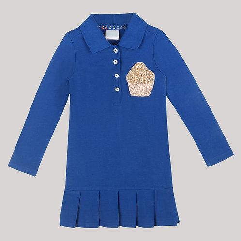 Girls Full Sleeves Polo Dress With Pleats And Cup Cake Motif
