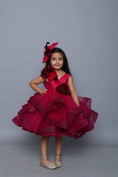 Callista Wine Dress With Hair Accessory