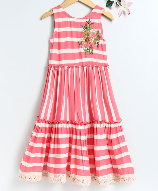 Striper Print Dress With Embroidery & Frill On Bottom-Pink