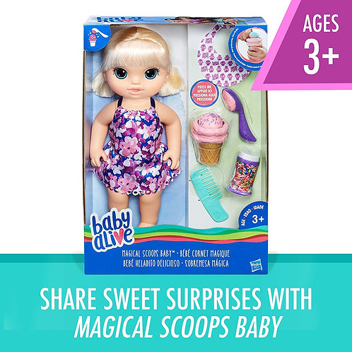 Baby Alive Magical Scoops Baby: Blonde Baby Doll With Dress And Accessories