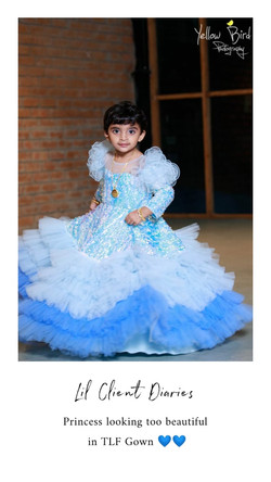 Sequins Blue Layer Gown with Hair Accessory