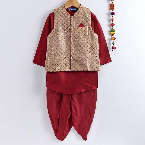 Kurta Dhoti With Jacket Set- Red