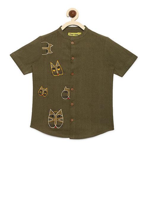 Boys Shirt Olive Cat Face