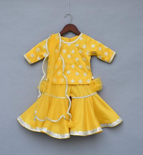 Yellow Embroidery Kurti with Sharara