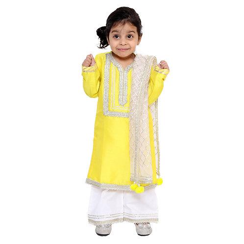 Yellow Kurta With White Sharara