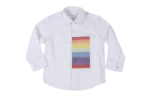Multicolor Square Patch White Shirt