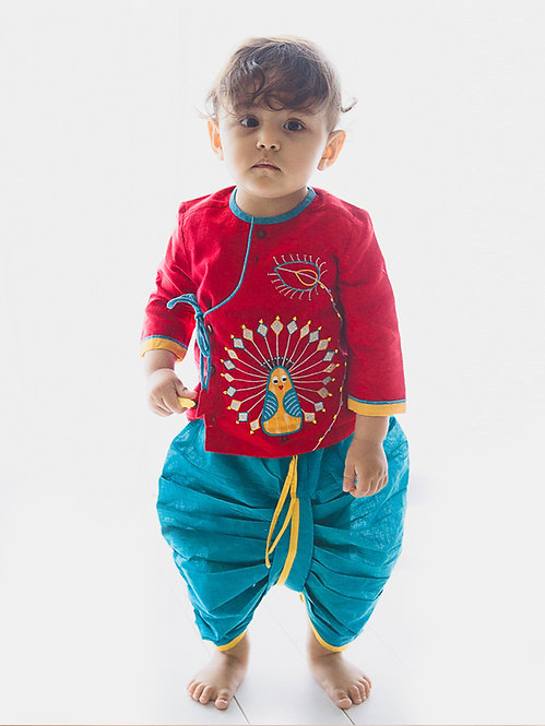 Baby Boy Red Peacock Dhoti Set