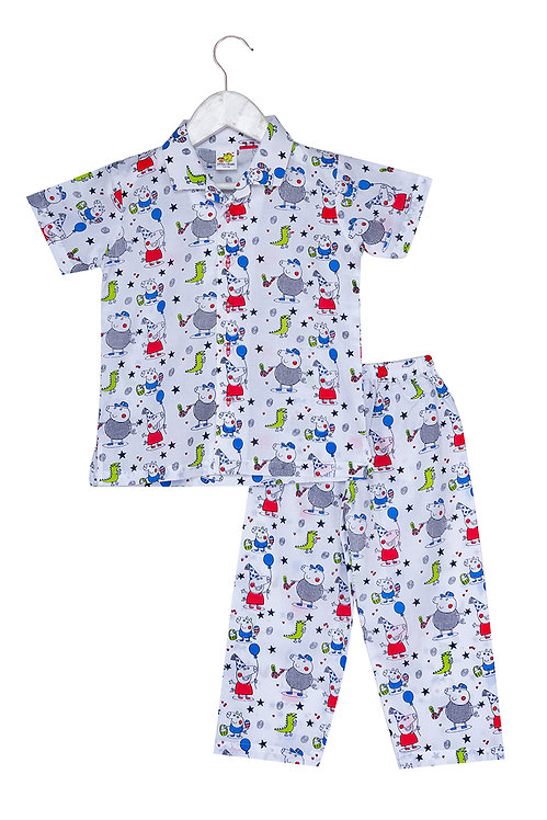 Printed half sleeve nightsuit set Ns Peppa Pigs