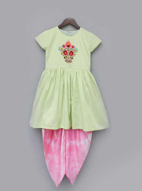 Pista Green Kurti with Boota and Pink Dhoti