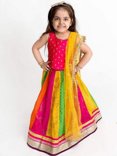 Stylish Ghaghra Choli With Dupatta Set-Multicolored