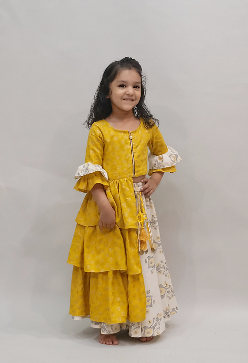 Yellow Bootie Frilled Dress With Ikkat Plazoo