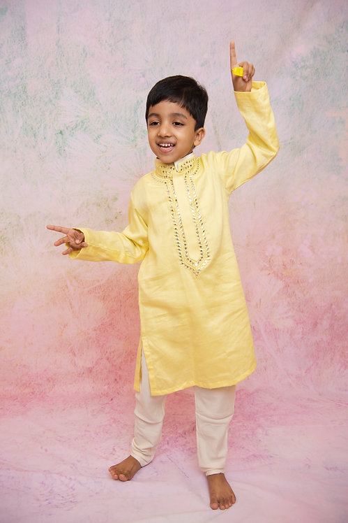 Yellow Mirror Kurta Churidaar