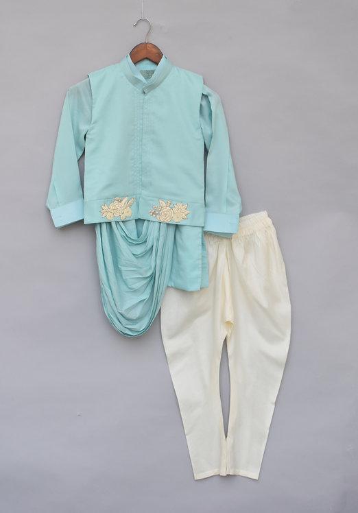Blue Embroidery Nehru Jacket Set