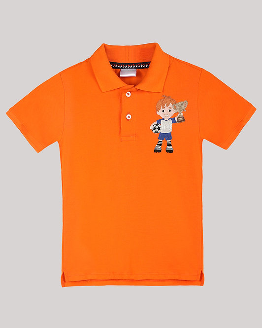 Polo T-Shirt With Football Player And Trophy Motif