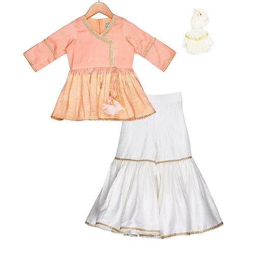 Creamy Peach Sharara Set