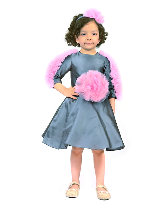 Grey Dress With Net Pink Frills