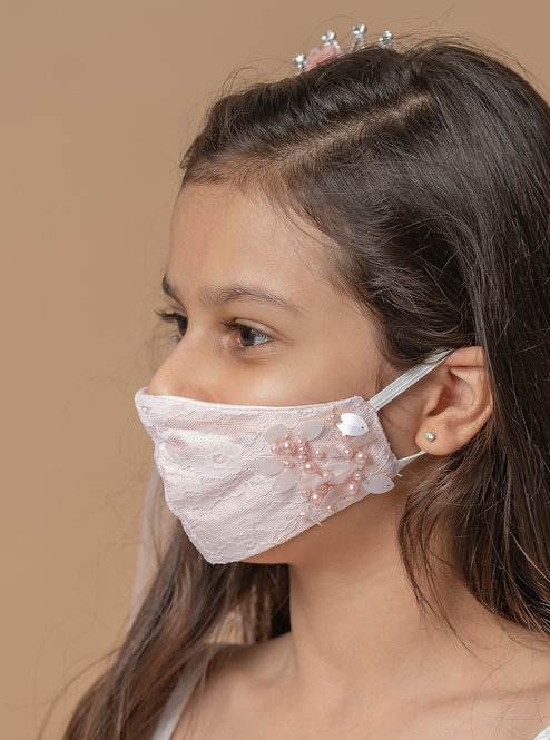 Pink Lacy Face Mask