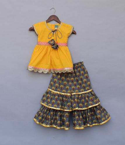 Yellow Kurti with Printed Sharara
